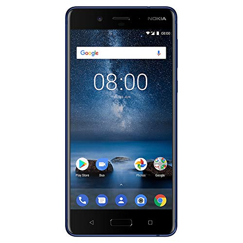 """Nokia 8 - Android One (Upgrade to Pie) - 64 GB - Unlocked Smartphone (AT&T/T-Mobile/MetroPCS/Cricket/H2O) - 5.3"""" Screen - Glossy Blue"""