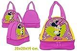 Minnie Maus Kindergartentasche mit Brotfach Handtasche Tragetasche Tasche Mouse pink Herzmotiv Kindergarten 25cm
