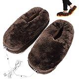 teyiwei 1 par de pantuflas unisex con calefacción por USB, para interior y exterior, elastómero, protección contra heladas, de terciopelo, suave felpa, para invierno frío