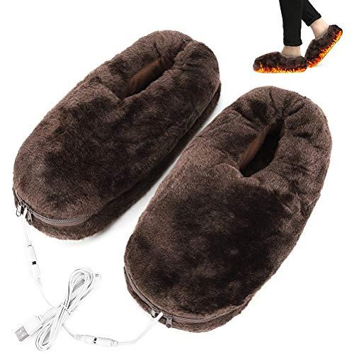 Beheizte Hausschuhe, elektrische beheizte USB Schuheinlagen, bequeme Samt Wärmepantoffeln für Männer und Frauen, Winter Fußwärmer Heizschuh, Indoor Familienfußwärmer