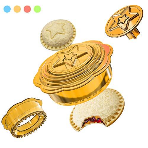 Sandwich-Schneider und Versiegelung, uncrustables Decruster Sandwich-Maker, 6-in-1 DIY Sandwich-Ausstecher für Kinder, ideal für Lunchbox und Bento-Box, gelb
