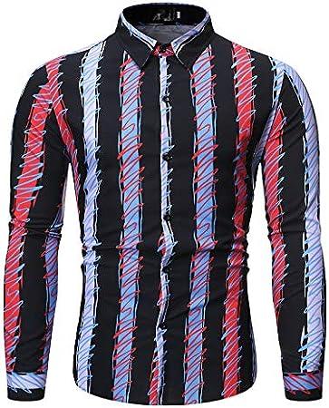 ZTAOPLHH Color de la caída Camisas Camisa a Rayas Camisa para ...
