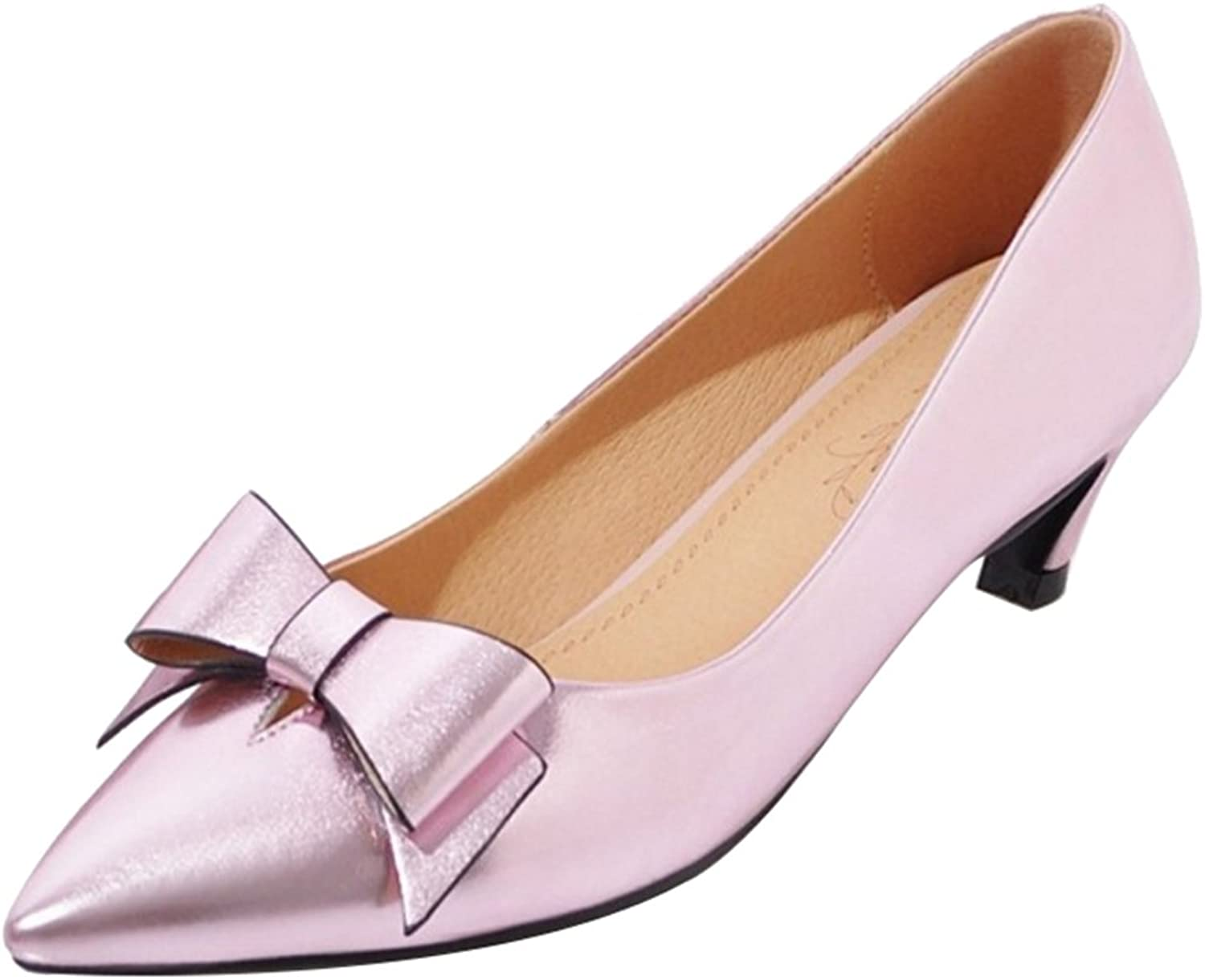 SJJH Women Patent Pumps with Kitten Heel and Pointed Toe