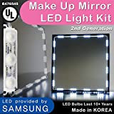 Crystal Vision Make up Mirror LED Light Kit Provided by Samsung for Cosmetic Mirror Vanity Mirror LED UL Power Supply w/Dimmer Controller (75 LED Bulb / 12.5ft) [Slim Cool White]