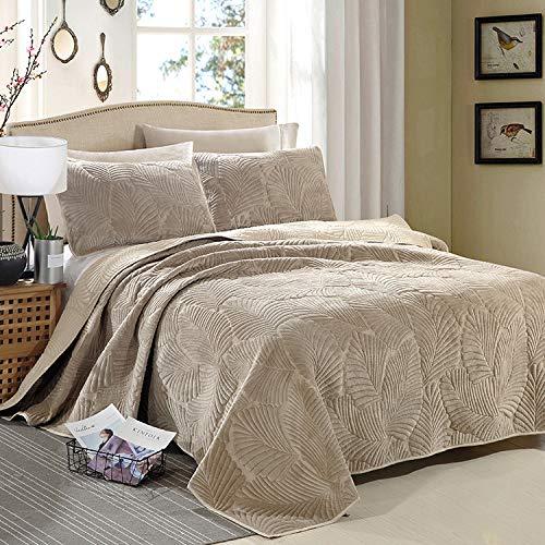 Tagesdecke Baumwolle Gesteppt Steppdecke Doppelbett Bedruckt Set Gesteppte Tagesdecken Patchwork Bettiberwurf Und 2 Kissenbezüge,Brown-270X234cm+2X51X71CM