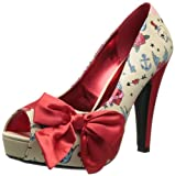 Pinup Couture - zapatos de tacón mujer, Cream Pu-Red Satin (Tattoo Print), 38,5