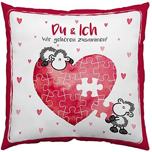 sheepworld 45323 Spruch Du und Ich, Geschenk, 40 cm x 40 cm, Hülle, Füllung 100{f5609f474c9265056d6fce20e8d770786d1e066bed61fc6406184c9723a75a51} Polyester, Rot, Weiß Kissen, Baumwolle