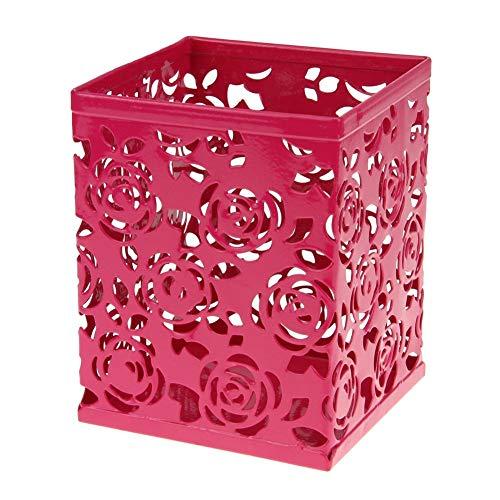 Vican Portalápices con diseño de flores perforadas y huecas, de plástico, redondo, duradero, para escritorio, con regla (8 x 8 x 10 cm, rojo)