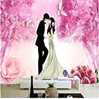RomantiLovely Girl Boy Wallpapers 3D Murals Pink Flowers Wallpapers for Living Room Bedroom TV Walls Papers Nature Tree Birds-350x250cm