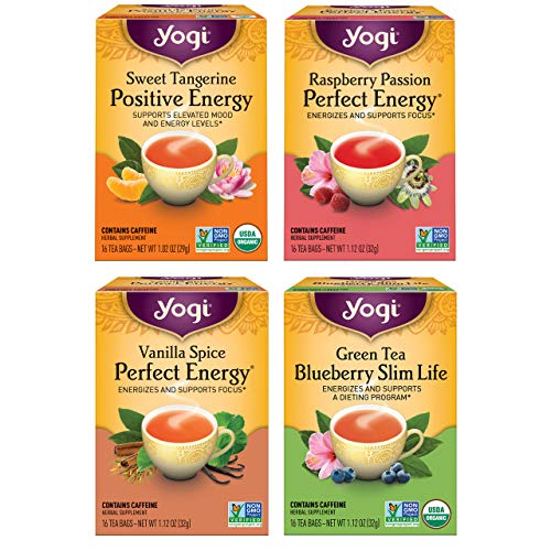Yogi Tea - Energy Tea Variety Pack Sampler (4 Pack) - Raspberry Passion Perfect Energy, Sweet Tangerine Positive Energy, Vanilla Spice Perfect Energy, and Green Tea Blueberry Slim Life - 64 Tea Bags