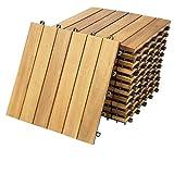 Deuba Set de 11 baldosas'Clásica' de madera Acacia 30x30cm por 1m² Losas de terraza para jardín balcón spa o deck