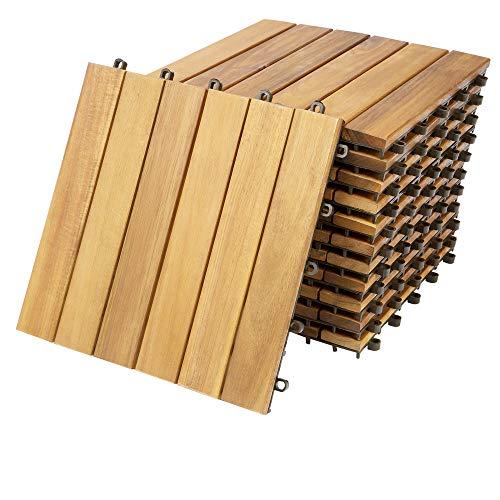 """Deuba Set de 11 baldosas""""Clásica"""" de madera Acacia 30x30cm por 1m² Losas de terraza para jardín balcón spa o deck"""