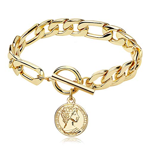Gold Chain Cuban Link Bracelet for Men Women, Coin Pendant Anklet, 18K Gold Plated