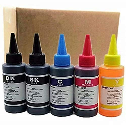 Kit de recambio de tinta para impresora Epson Stylus S20/S21/SX100/SX110/SX105/SX115/SX200/SX205/SX209/SX210 cartuchos recargables CIS/CISS System (100 ml, 1 juego de 4 piezas + 1 negro)