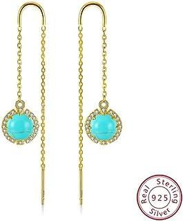 JJGL Pearls Long Dangle Earring Jewelry Vintage Wedding 925 Sterling Silver Earrings For Women Best Gifts