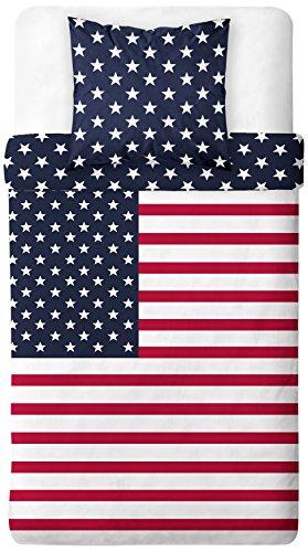 TODAY Parure de Lit Dessin US Dream, Polyester, Bleu/Blanc/Rouge, 200x140 cm