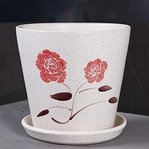 Pots de fleurs Salon Balcon Céramique Simple Flower Pot PC de bureau Respirant Pot de fleurs Bonsai arbres fruitiers conservation Pot Récipients pour plantes de jardin (Taille : M)