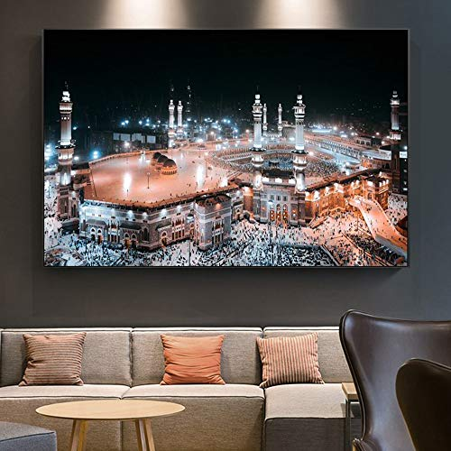 NSRJDSYT Islamic Mecca Mosque Muslim Hajj Night Home Decor Wall Art Posters and Prints On Canvas Painting Religion Building Picture 50x75cm Frameless