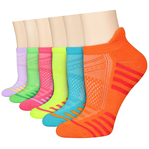LITERRA Womens Ankle Socks 6 Pack Athletic Low Cut Socks Running Cushioned Sole Socks For Woman
