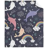 WFOOD Cute Narwhals Blanket Super Soft Flannel for Bed Sofa Lightweight Blanket Throw Size for Kids Adults All Season 50'x40' for Kids