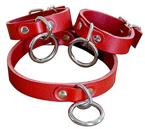 Fesselset Bondagehalsband Halsband Halsfessel + Handfesseln Fesseln mit Rundring und Triangel Breite: 20 mm / Maßanfertigung