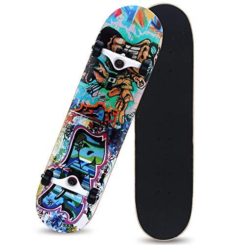 Delili Skateboard-Deck, komplettes Board mit T Tool Werkzeug ABEC-9 Kugellager 92A Anti-Rutsch-Glatt und Mute Rad Funboard für Anfänger,Alien Creature