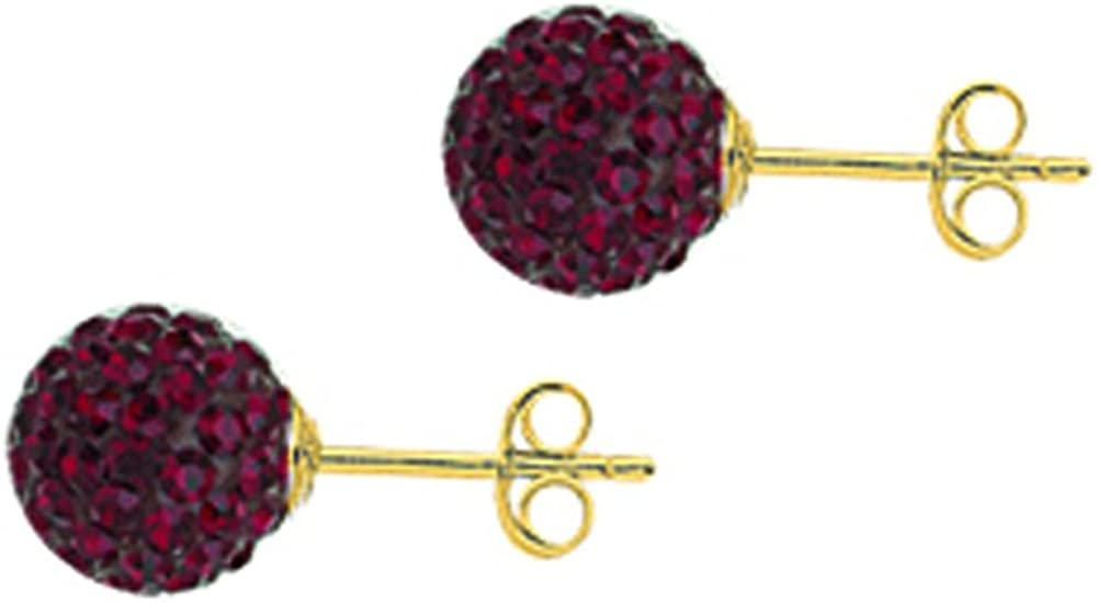 Ball Earrings, 10Kt Gold Crystal 8mm Ball Earrings