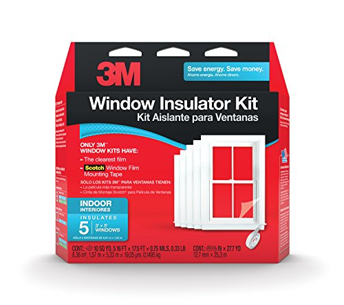 3M Indoor Window Insulator Kit, Window Insulation Film for Heat and Cold, 5 - 3'x5' Windows