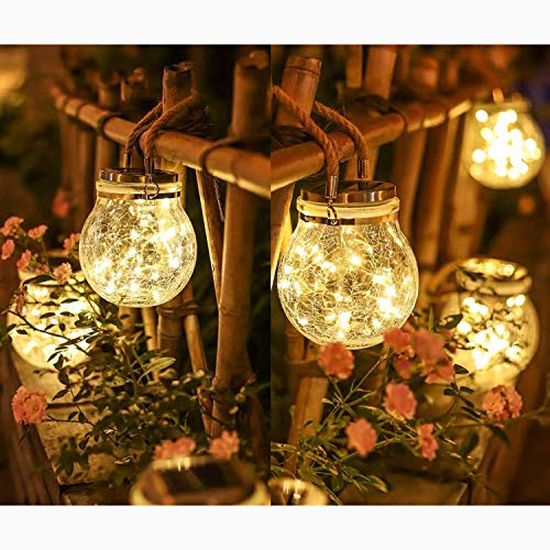 Solar Cracked Glass Jars Light - 30 LEDs Solar Lanterns Lights, Hanging Solar Lights for Courtyard Garden Yard Patio Lawn Party Wedding Christmas Decoration,1 Pack