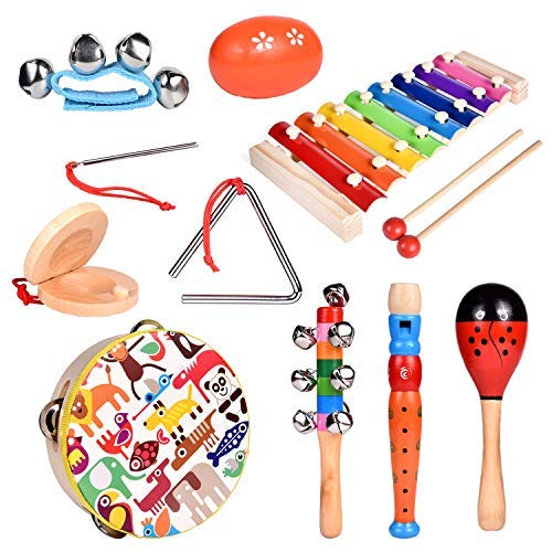 FUN LITTLE TOYS Toddler Musical Instrument Toy Set Wooden Percussion Instruments Including Tambourine, Shaker Egg, Piccolo, Maracas Educational Preschool Toy for Boys and Girls 12Pcs