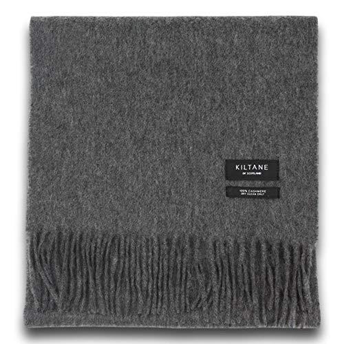 Kiltane Pure Cashmere Sjaal in Plain Steinway Grijs