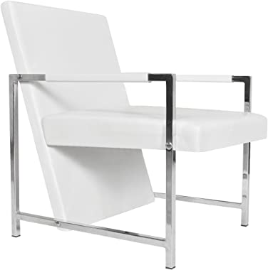 Festnight Modern Tub Chair Leather Upholstery Reclining Chair with Armrest and Chrome Feet Cube Chair Living Room Waiting Roo