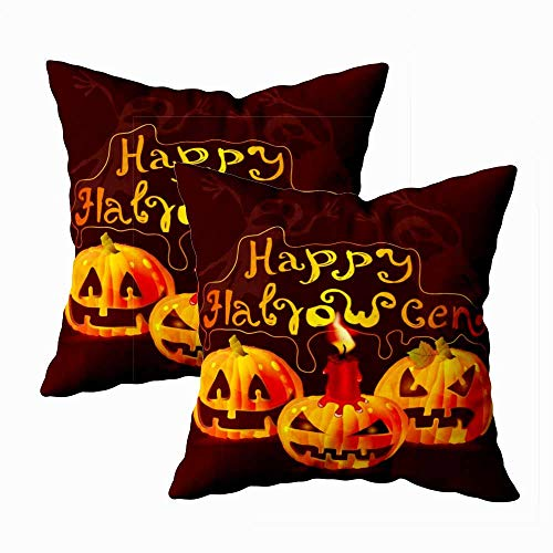 Teepel Throw Pillow Covers,Boho Pillow Covers Set of 2 18X18 Halloween Card Place Text Pumpkin Ghosts Illustration Square Decorative Pillow Covers for Couch