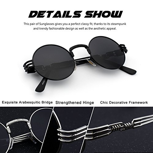 CGID E73 Retro Steampunk Style Unisex Inspired Round Metal Circle Polarized Sunglasses for Men and women steampunk buy now online