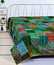 RRC Indian Patchwork Kantha Quilt,Throw Handmade Silk Patola Kantha Bed Cover, Reversible Bedding Bedspread,Vintage Hand S...