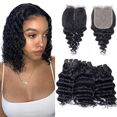 Brazilian Deep Wave Bundles with T Part Closure 4x1inch Hand-Tied Lace Closure Middle Part Deep Curly Human Hair 3 Bundles with Closure Wet and Wavy Bundles with Closure (10 10 10+10) 50g/bundle