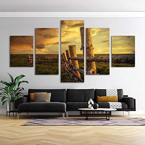 IJNHY 5-teiliger Kunstdruck auf Leinwand Country Zaun Naturlandschaft Wandbild 5 Stück Drucke auf Leinwand für zuhause HD Home Decor Moderne Dekoration Poster für Wohnzimmer 150 * 80CM Rahmen