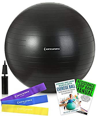 Exercise Ball – 55cm, 65 cm or 75 cm Stability Ball with Exercise with Hand Pump, Exercise E-Book and Bonus Resistance Loop Bands for Yoga, Pilates and Core Training