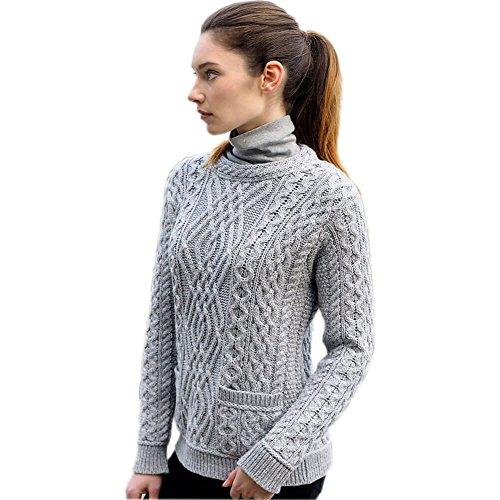 Aran Ladies Crew Neck Sweater with 2 Pockets (L, Soft Grey)
