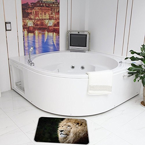"QIYI Memory Foam Bath Rugs for Bathroom Non Slip Machine Washable Soft Absorbent Rug Quickly Drying Office Door Mat Kitchen Carpet Dining Living Hallway 16"" x 24"" (40 x 60 cm) - Pensive King Lion"