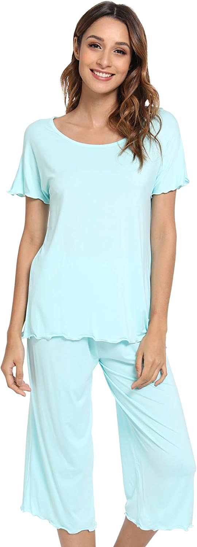 NACHILA Womens Capri Pajama Regular discount Fees free!! Set Sleepwear Short Pjs Sleeve Soft