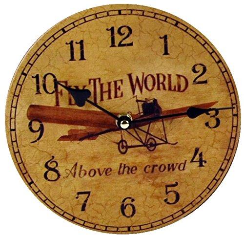 Horloge murale vintage motif aviéoplano FLY THE WORLD diamètre 20 cm