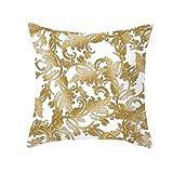 AtHomeShop 45 x 45 cm, fundas de cojín en poliéster con diseño de hierba, suave, cuadradas, para sofá, dormitorio, salón, sin relleno, color blanco y dorado