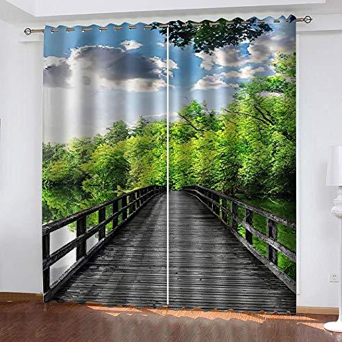 MXYHDZ Cortinas Dormitorio Opacas - Puente de madera paisaje forestal Impresión 3D, Decoracion de Ventanas Salon Termicas Aisantes Frio y Calor - 234 x 229 cm para Oficina, Dormitorio habitación de lo
