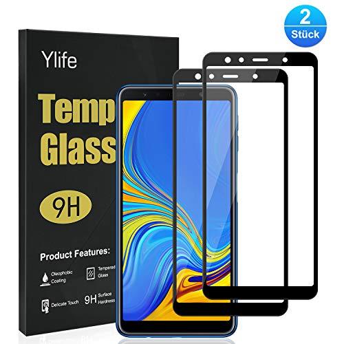 Ylife Panzerglas Schutzfolie Kompatibel Samsung Galaxy A7 2018, (2 Stück)Full Screen 9H Härte HD Transparenz Panzerglasfolie, Keine Luftblasen, Anti-Kratzer Bildschirmschutzfolie, Ultra Dünner Glas Folie