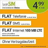 Handyvertrag winSIM LTE All 100 MB - ohne Vertragslaufzeit (FLAT Internet 100 MB LTE mit max. 21,6 MBit/s mit deaktivierbarer Datenautomatik, FLAT Telefonie, FLAT SMS und EU-Ausland, 4,99 Euro/Monat)