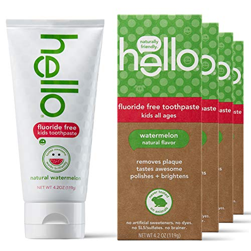 Hello Oral Care Kids Fluoride Free Toothpaste for 3 Months+, Gluten Free and SLS Free, Natural Watermelon, 4 Count