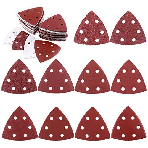 Glarks 100-Pieces 90mm / 3.5 Inch Triangle Mouse Detail Sander Sandpaper Sanding Paper Hook and Loop Assorted 40/60/80/120/180/240/400/600/800/1000 Grits for Random Orbital Sander (6 Holes)