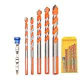 JIECHENG Multifunctional Drill Bits 6-Piece, Concrete Drill Bit, for Tile,Glass,Brick,Ceramic,Cement,Marble,Plastic,Wood,Steel with Carbide Tip