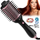Hair Dryer Brush,4 in 1Multifunctional Hot Air Brush and Volumizer,Anti-Frizz Ion Technology Blow Hair Styler for Women, One Step Styling Tool with 3pcs Hair Clips, 3pcs Hair Ties